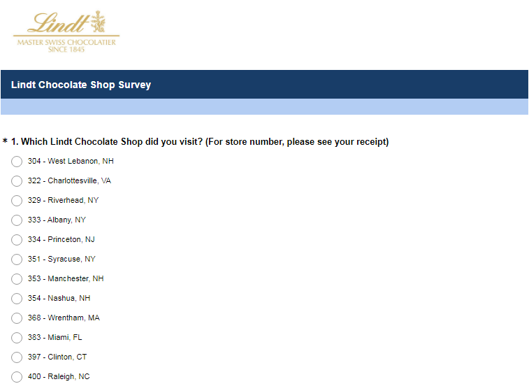 Lindt & Sprüngli Customer Feedback Survey 2020
